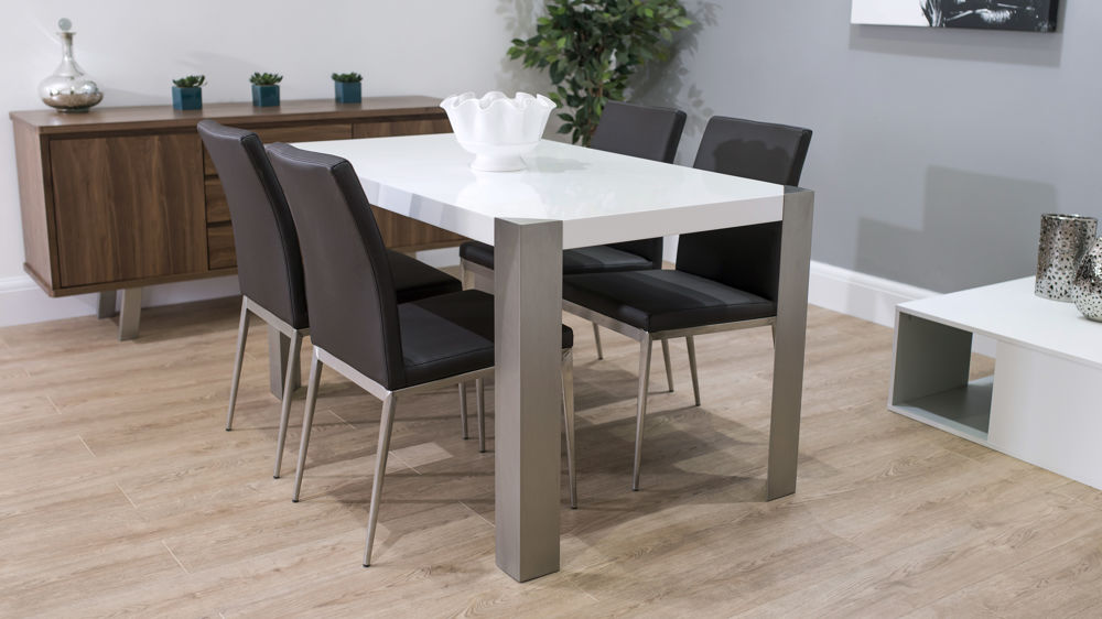 Brown Dining Chairs with Large White Gloss Dining Table