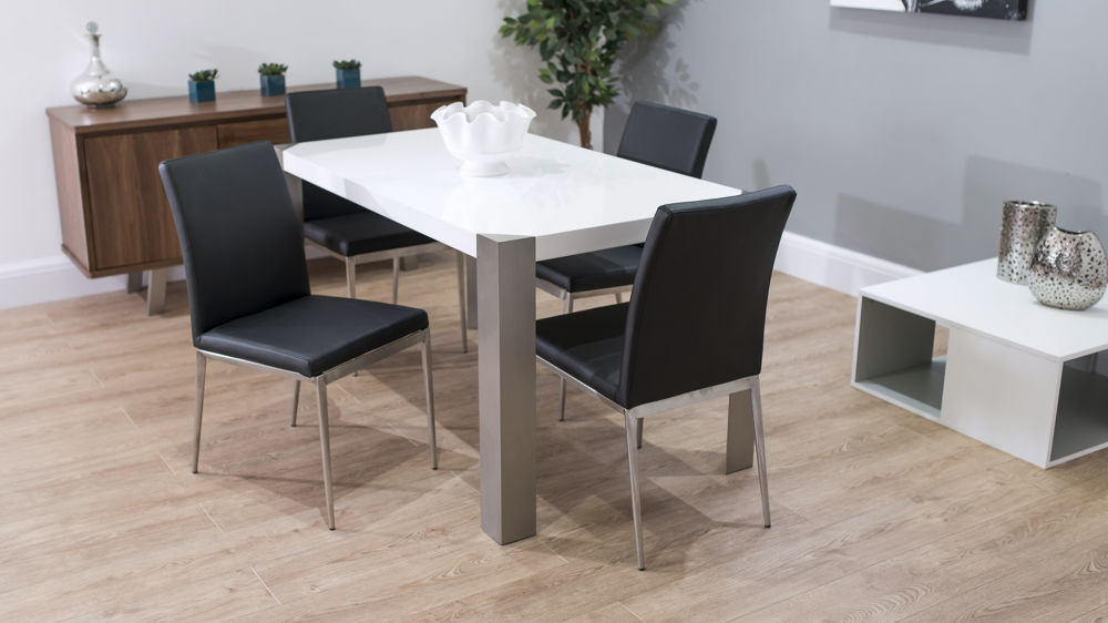 Contemporary Brushed Metal Legged Dining Set