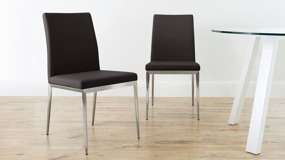 Brown Dining Chair with Brushed Metal Legs