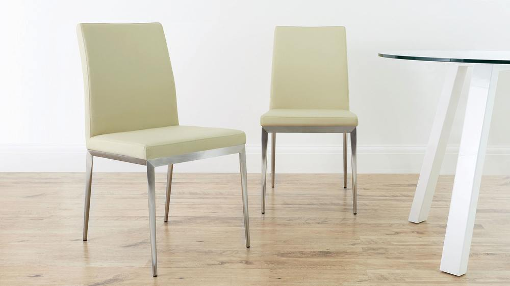 Beige Dining Chair with Brushed Metal Legs