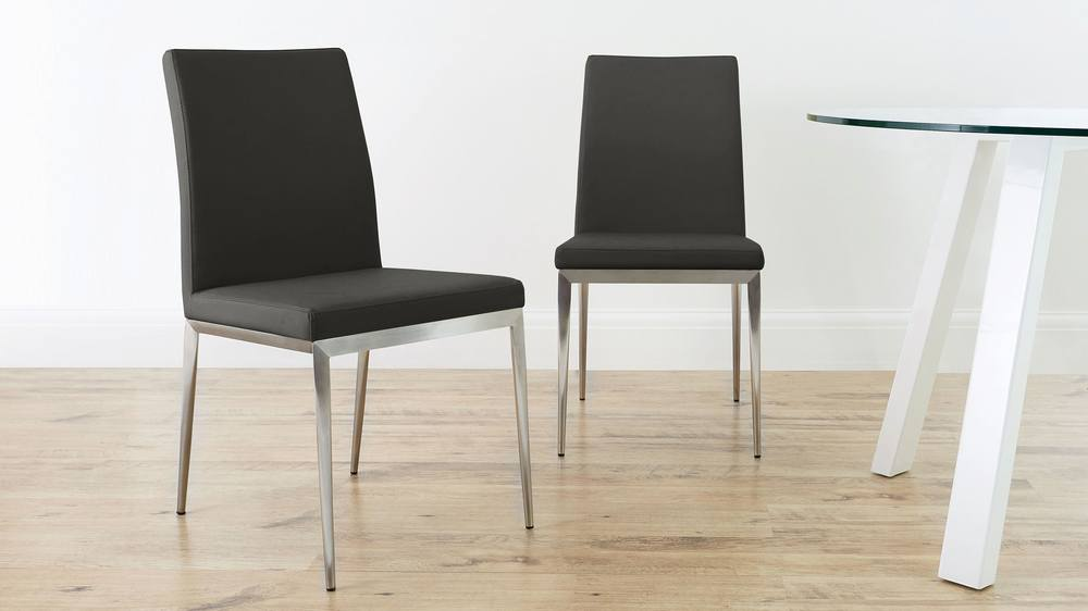 Grey Dining Chair with Brushed Metal Legs