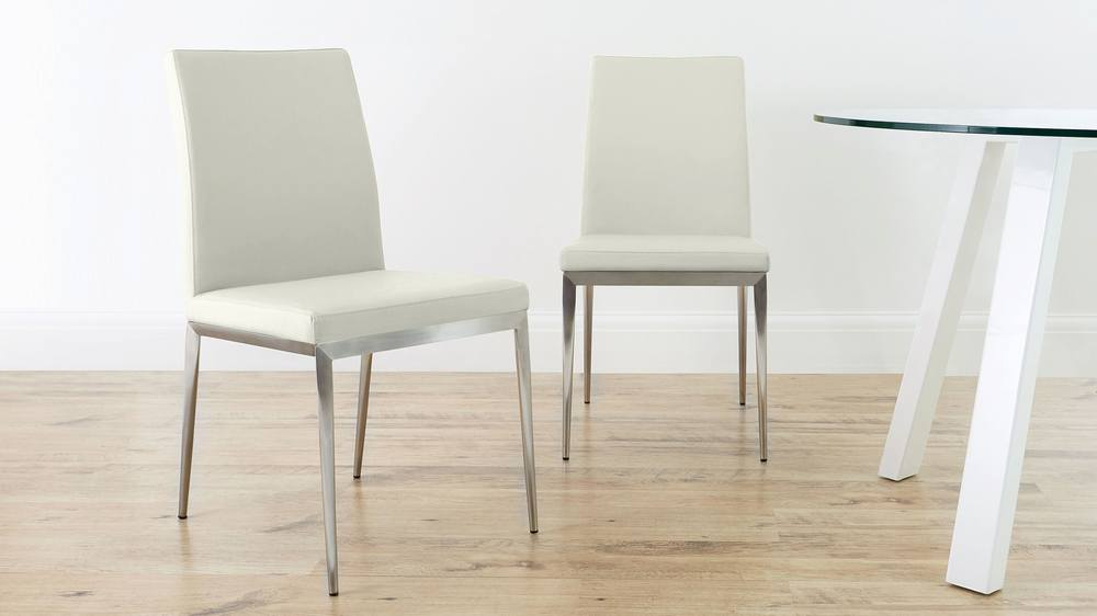 White Dining Chair with Brushed Metal Legs
