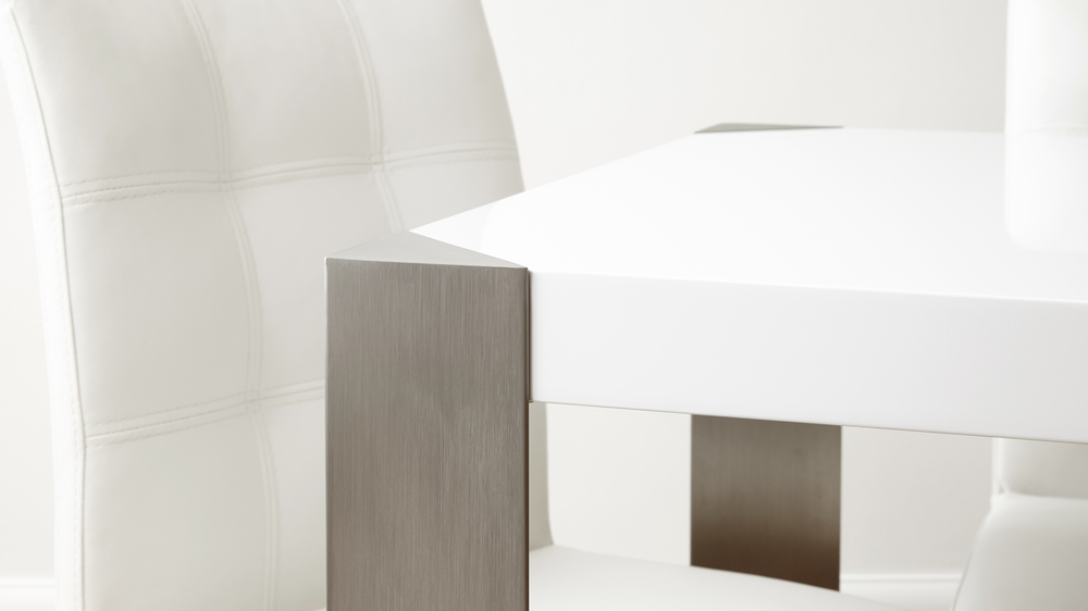 White Gloss and Brushed Metal Family Dining Table