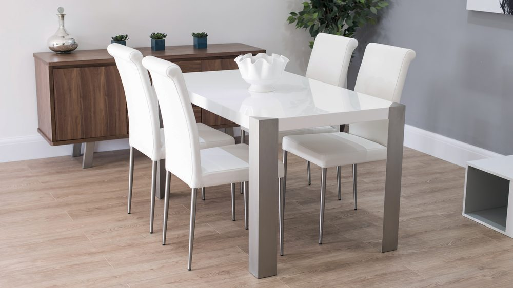 Large White Dining Set