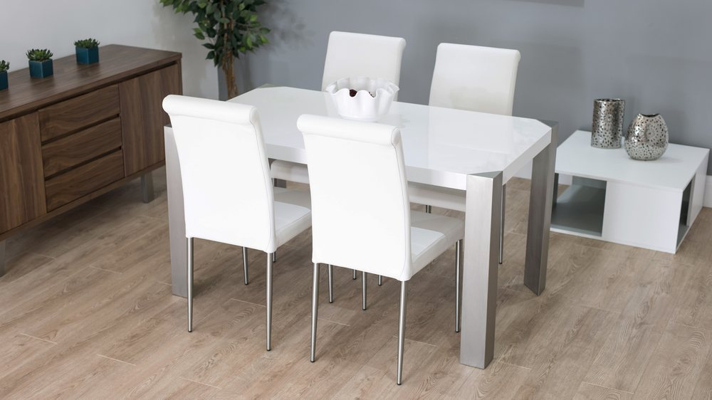 Modern White Gloss Dining Table With Real Leather Dining