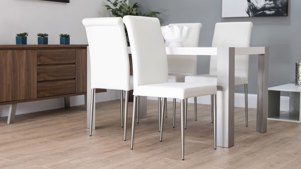 Modern white gloss dining table with real leather dining for White leather dining chairs