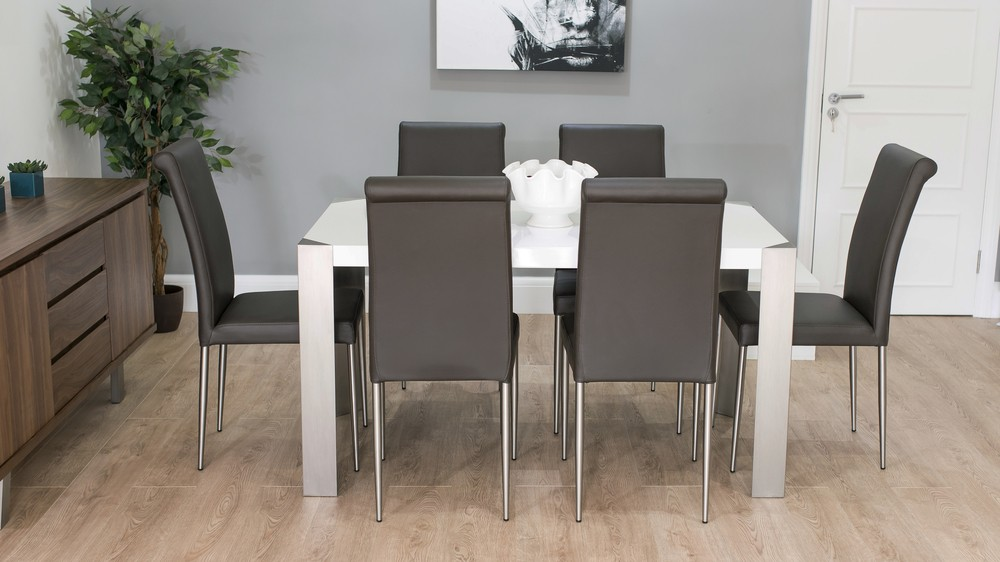 Rectangular Dining Table and Brown Leather Dining Chairs