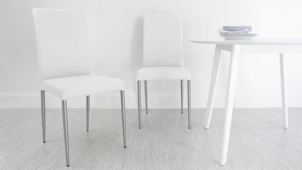 White Genuine Leather Dining Chairs
