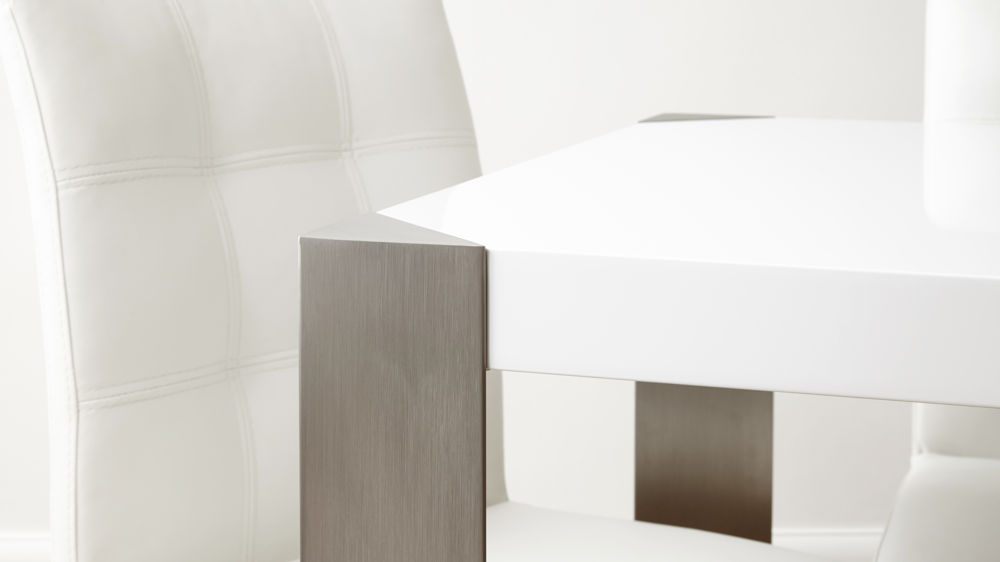 White Gloss and Brushed Metal Legged Dining Table