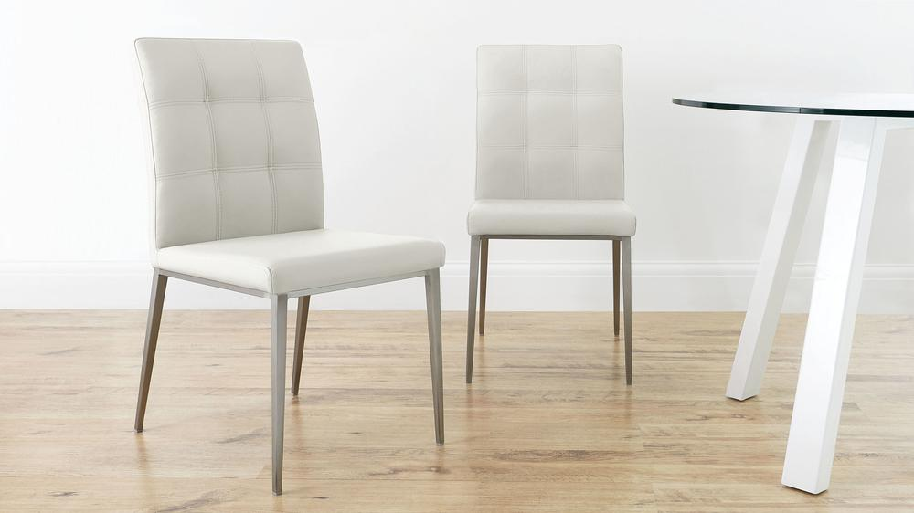 White Faux Leather and Brushed Metal Legged Dining Chair