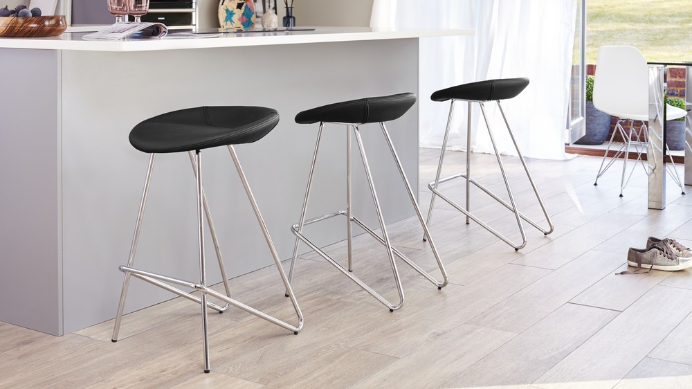 Modern Fixed Height Bar Stool Round Seat Chrome Legs Uk