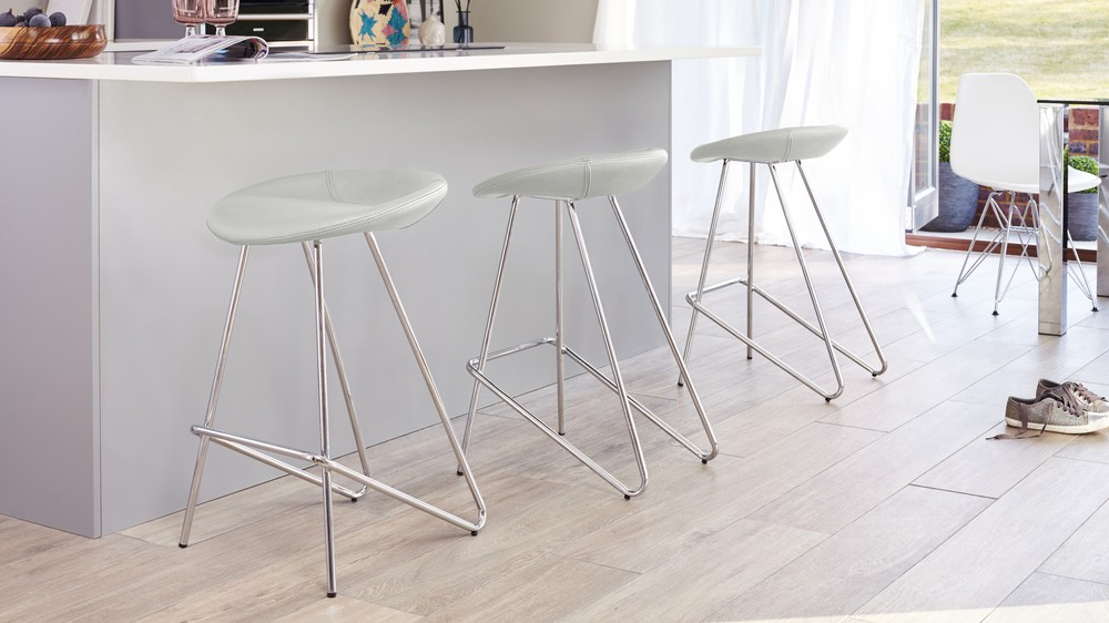 3 cool grey modern bar stools
