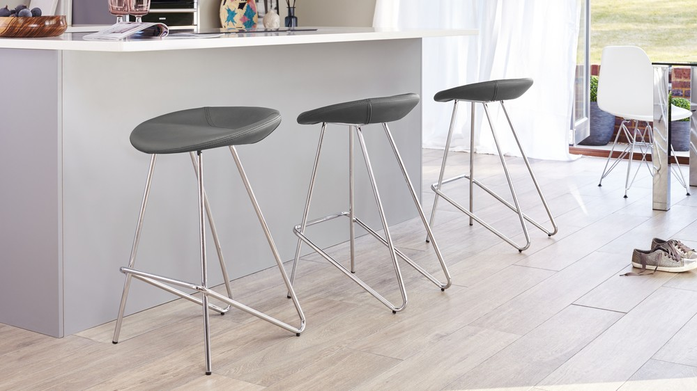 3 putty grey modern bar stools