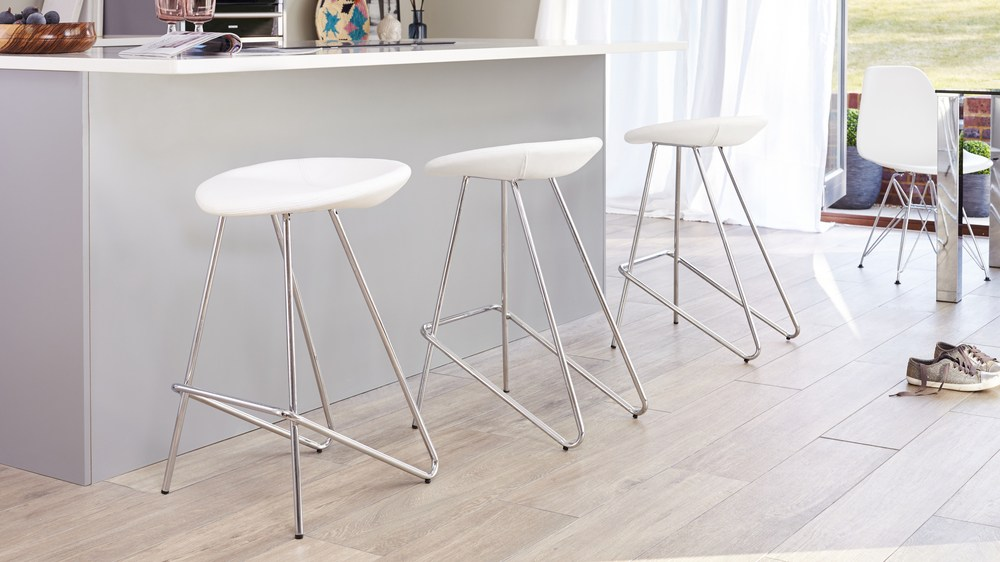 White Leather and Chrome Legged Bar Stools