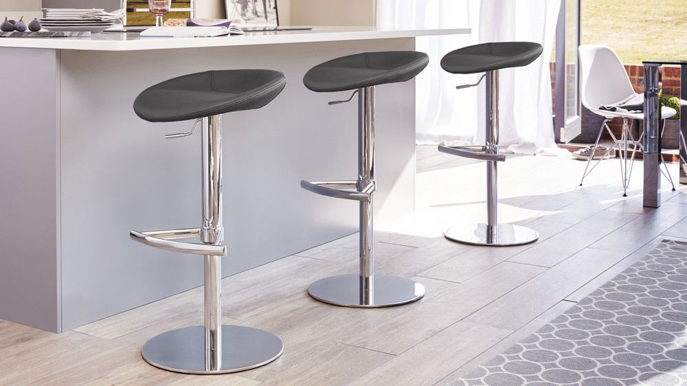 Dark grey faux leather gas lift bar stool