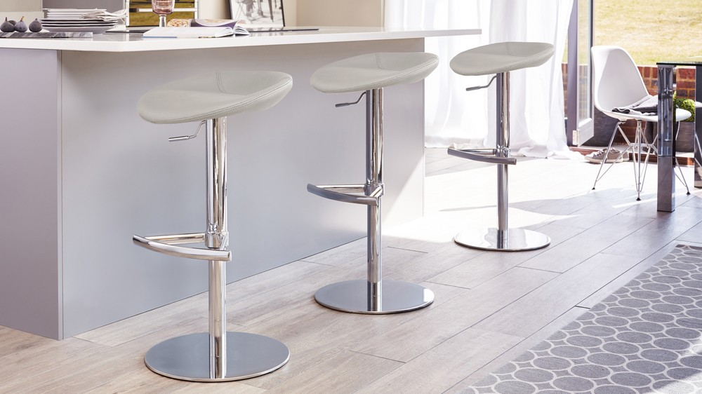 Grey modern gas lift bar stool