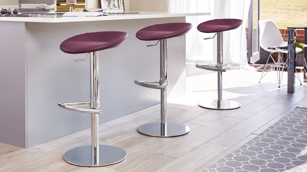 Purple Chrome Gas Lift Bar Stool