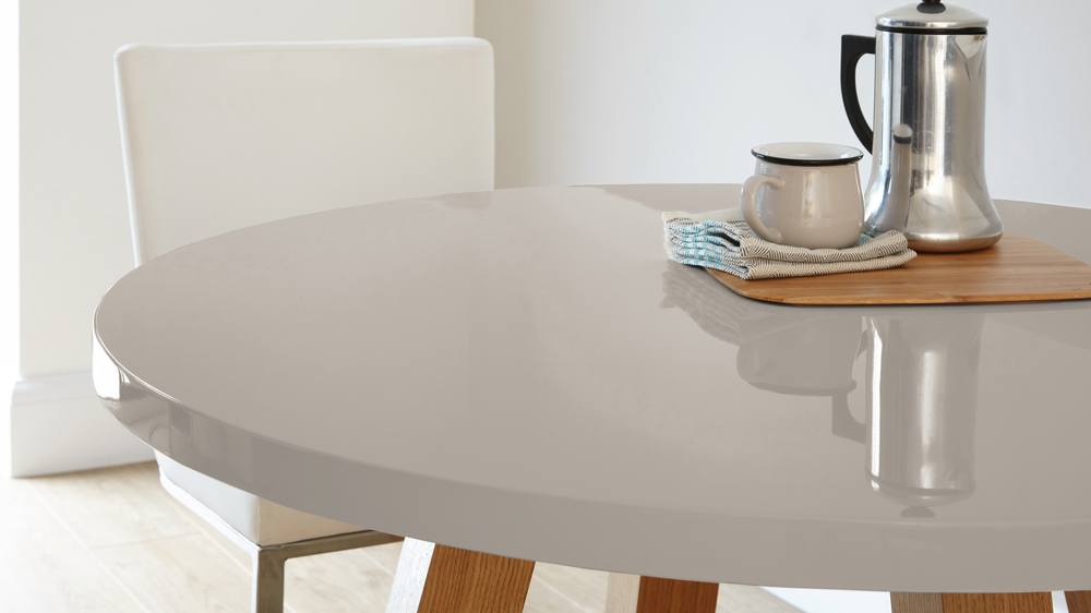Contemporary Grey Gloss and Oak Dining Table