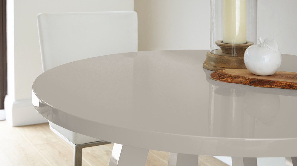 All Grey Gloss Round Dining Table