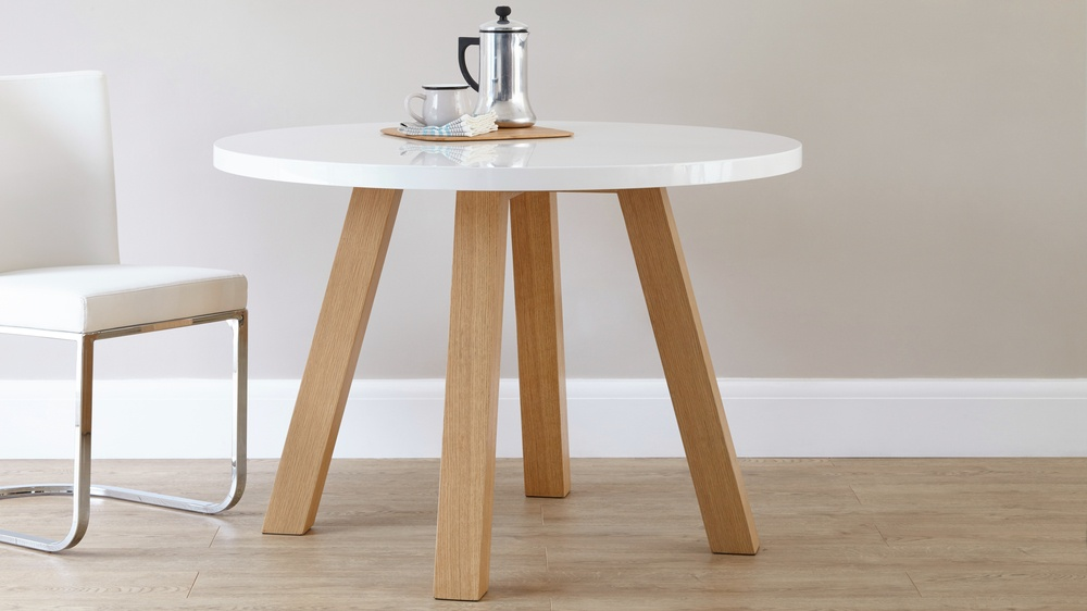 Modern 4 Seater White Gloss And Oak Dining Table Uk