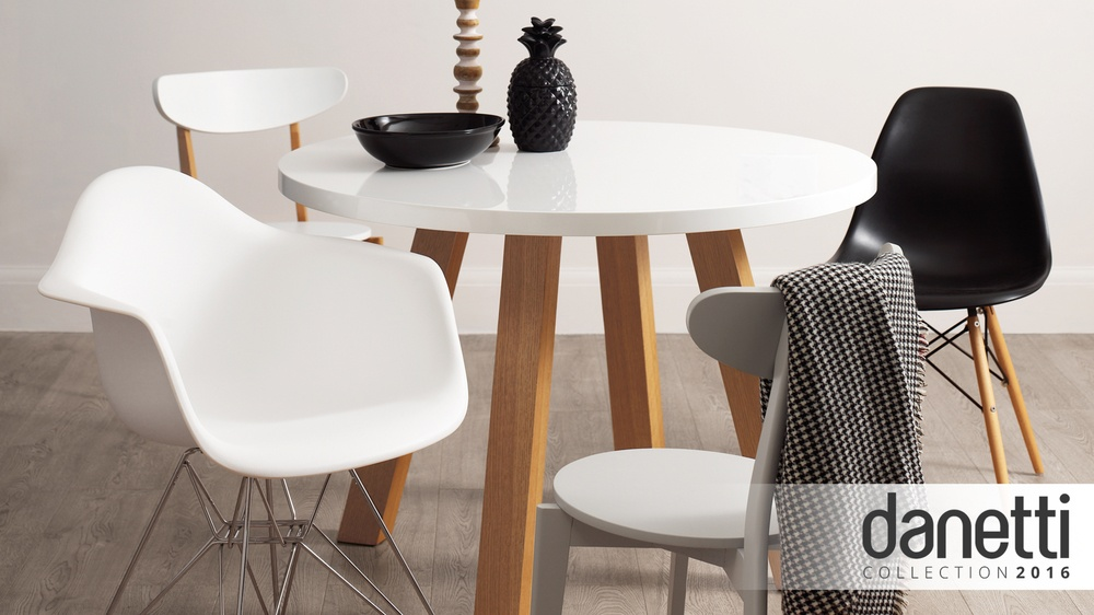 Exclusively Danetti Julia Kendell Range round white gloss and wood dining table