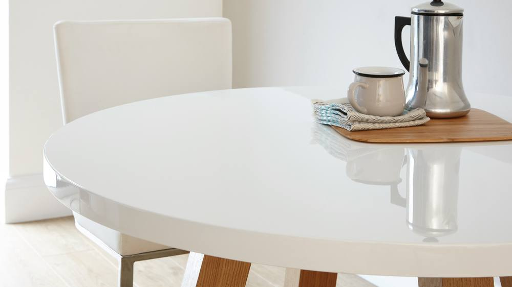 round white gloss four seater dining table with wood veneer legs Exclusively Danetti Julia Kendell Range