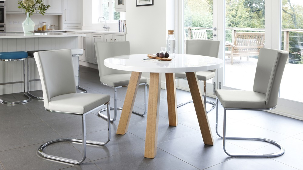 White Round Dining Table 4 Legs modern 4 seater white gloss and oak dining table | uk