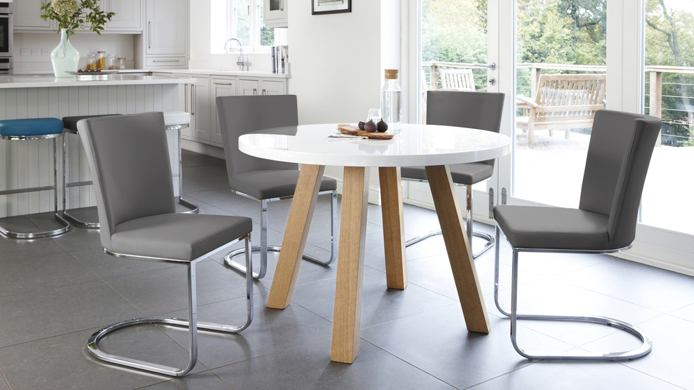 Grey And White Gloss Round Dining Set. Contemporary Designer Furniture UK