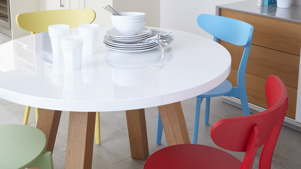 White gloss and wood round four seater table Exclusively Danetti Julia Kendell Range