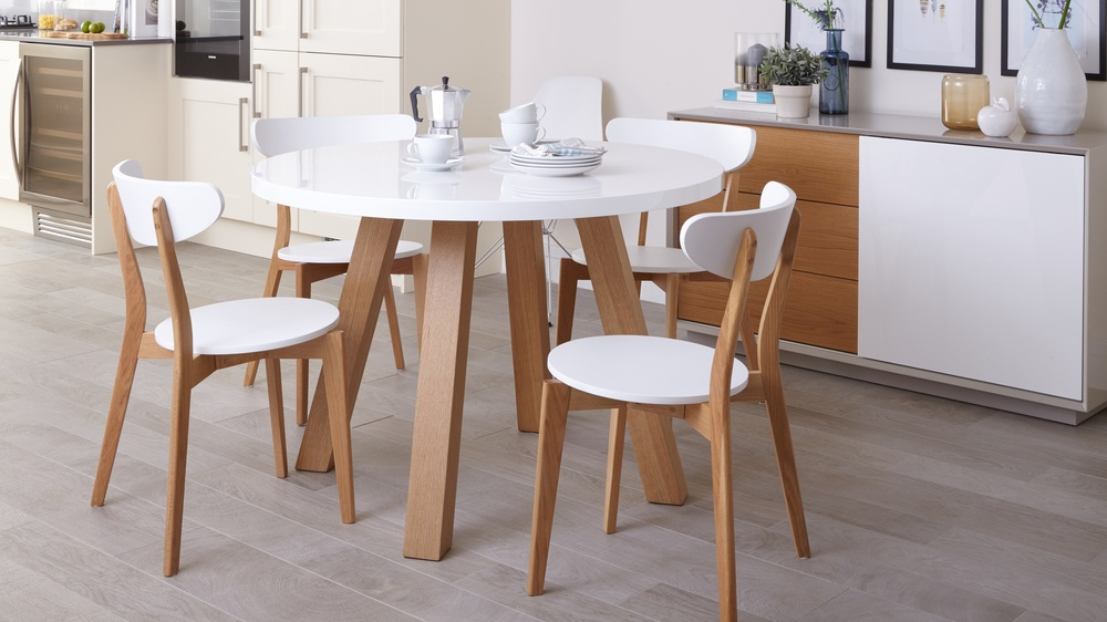 Modern 4 seater white gloss and oak dining table uk for Modern oak dining table