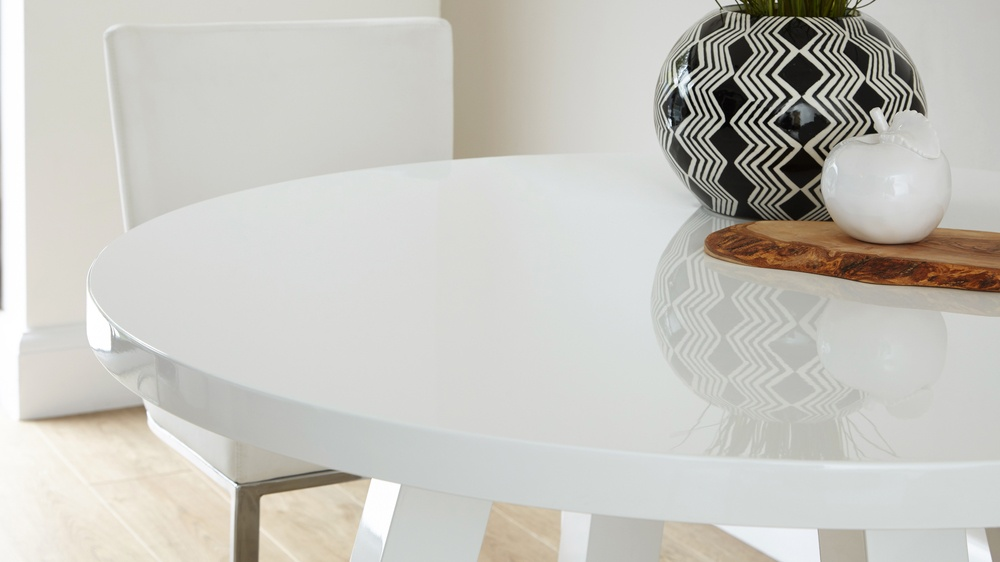 round four seater white gloss dining table Exclusively Danetti with Julia Kendell range