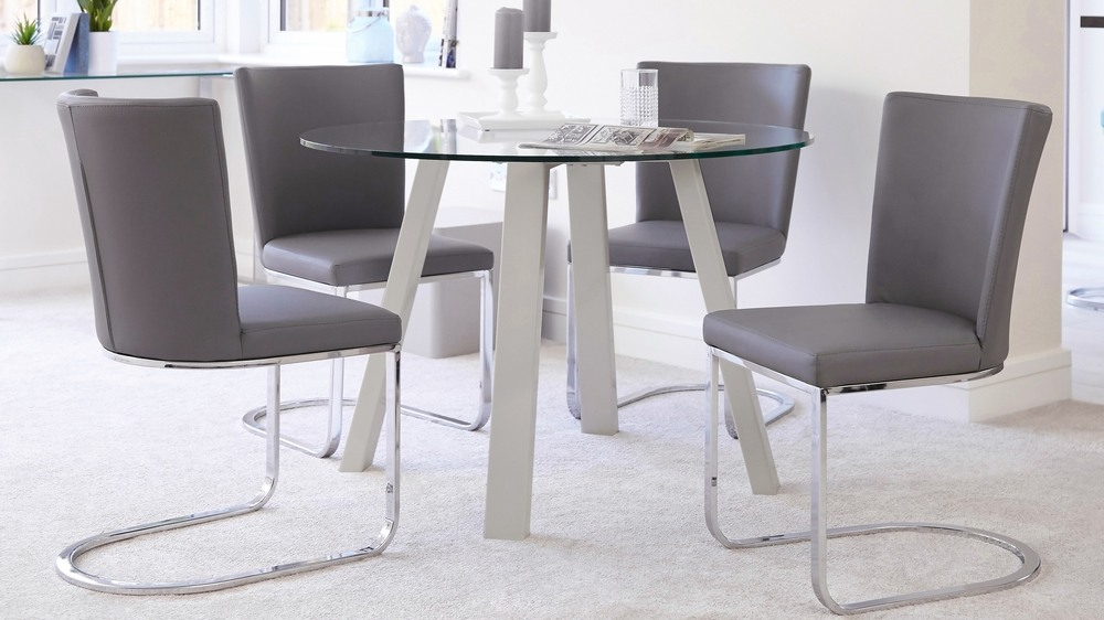 Modern 4 Seater Glass And Grey Gloss Dining Set Uk