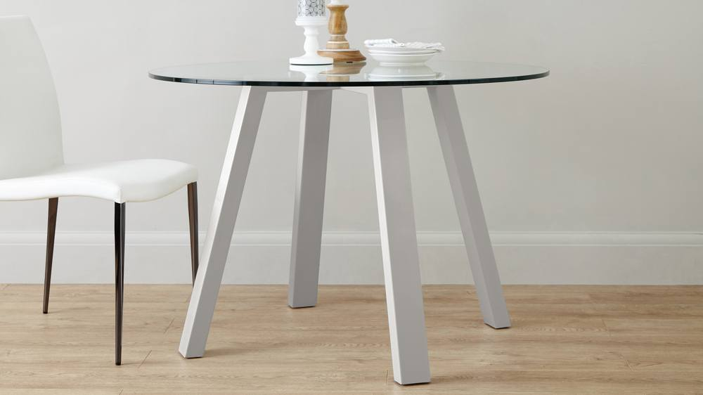 Small round glass dining table set