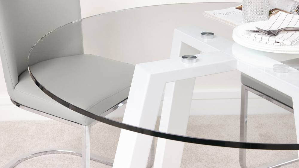 White gloss and cool grey dining set