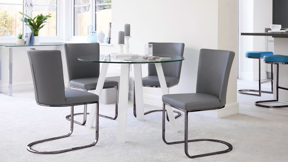 Black chrome comfortable dining chairs