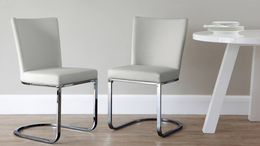 light grey dining chairs with chrome frame