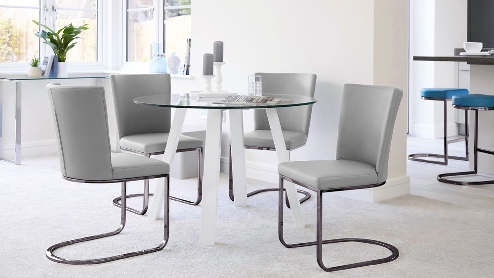 White gloss and grey dining chair set