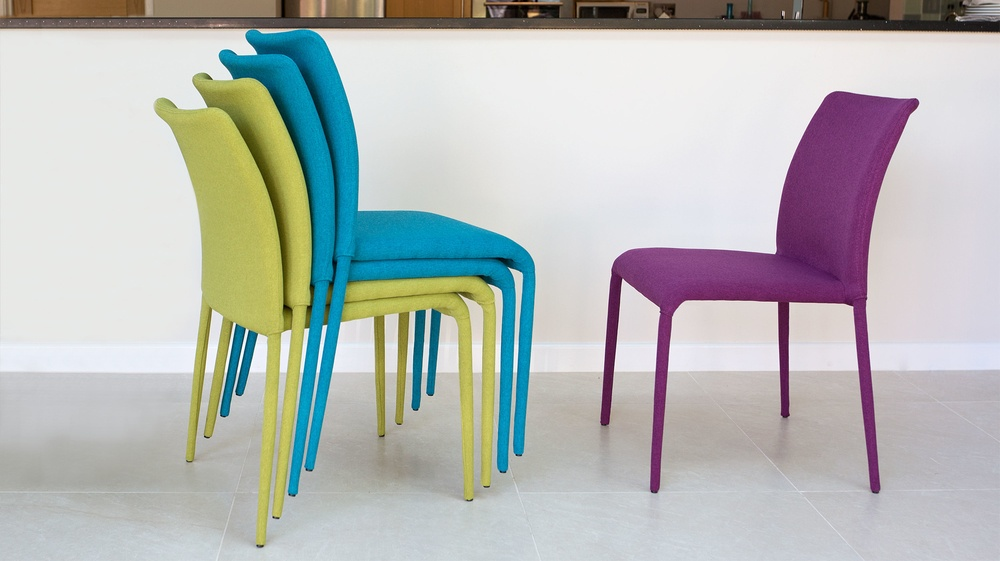 Stackable fabric dining chair set