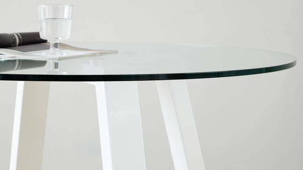 Modern sturdy glass table