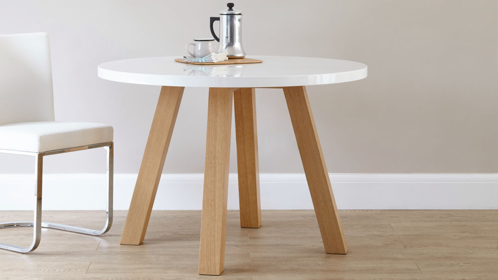 White Gloss And Oak 4 Seater Dining Set Round Dining Table