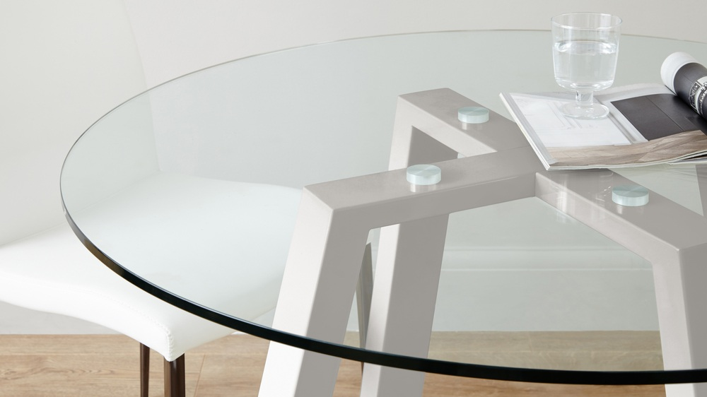 Grey Gloss and Glass 4 Seater Kitchen Table