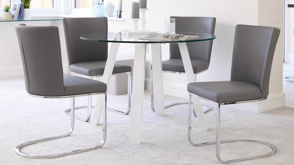 Round 4 Seater Glass And White Gloss Dining Table