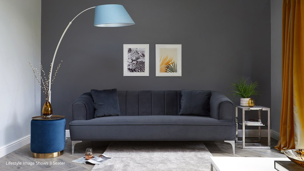 grey velvet 2 seater sofa