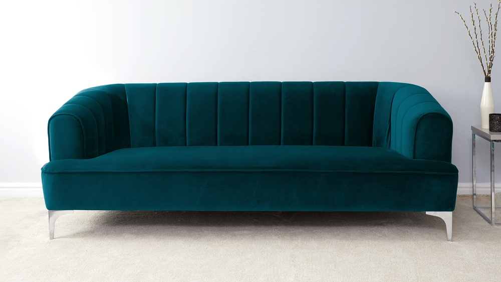 Green Velvet 3 Seater Sofa