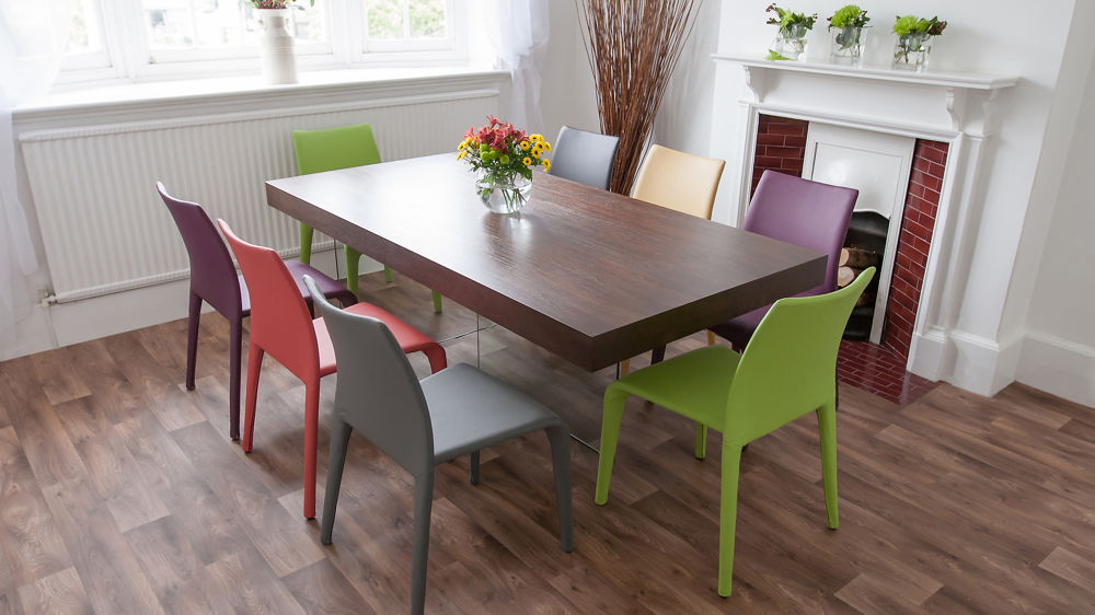 Argenta coloured faux leather chair modern funky colours for Funky dining room furniture