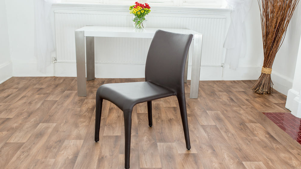 Modern Brown Coloured Faux Leather Dining Chair
