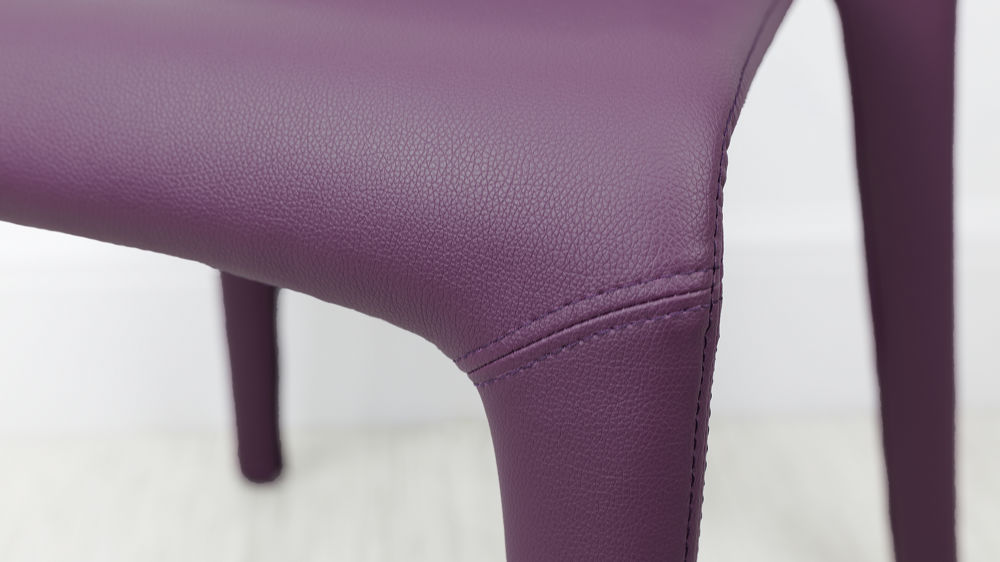 Purple Faux Leather Modern Chunky Dining Chair