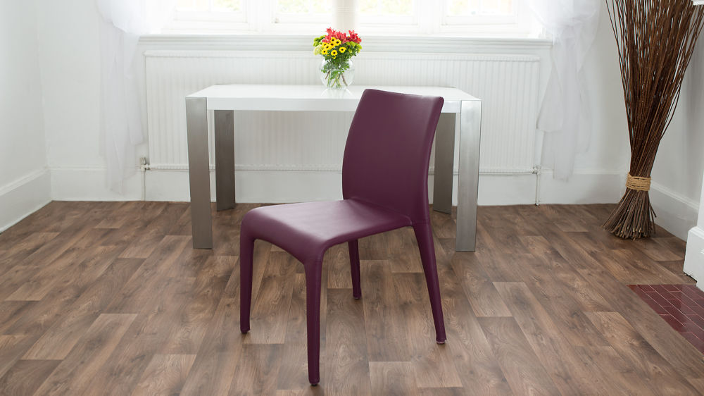 Purple Faux Leather Dining Chair