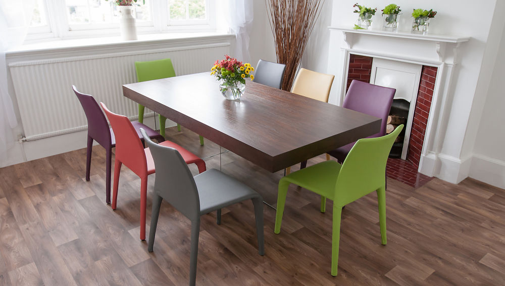 Dark Wood Dining Table and Coloured Dining Chairs