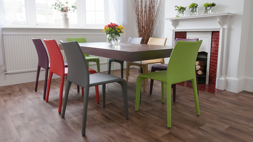 Contemporary Dining Chairs and Glass Based Dining Table